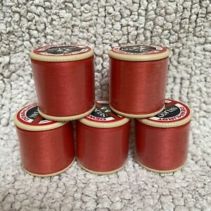 Vintage SYLKO Coral Flair Job Lot Set X 5 Mercerised Cotton Thread 100 Yards GB