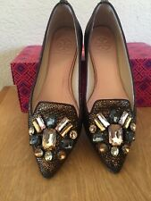 Tory Burch Mayada jeweled smoking slipper Bronze Metallic sz 7.0 $295 EUC