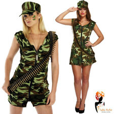 Adult Army Girl Costume Sexy Soldier Fancy Dress Military Uniform Womens Outfit