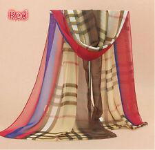 New Beige Blue Red Brown Cream Plaid Transparent Shawl Long Soft Scarf Wrap