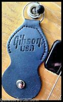 Black Leather Gibson Guitar Pick/Plectrum Holder Keyring