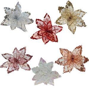 Christmas Decoration - 20cm Poinsettia with Clip - Glitter Detail- Choose Colour