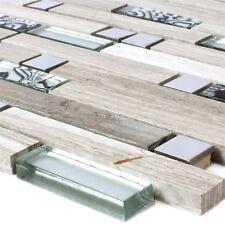 Mosaikfliesen Metall Glas Naturstein Grau Silber Mix