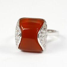 Günstig: Ring, 585 Weissgold mit Karneol und Diamant 0,26 Carat