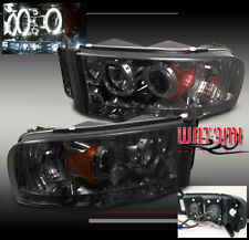 02-05 DODGE RAM 1500/03-05 2500 3500 PICKUP HALO LED PROJECTOR HEADLIGHTS SMOKE