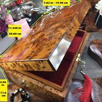 Large memory box, Thuya wooden jewelry box Gift, red velvet Lining, burl wood