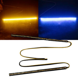 2Piece Amber Blue LED Strip RearView Turn Signal Doual Color Euro Vehicle