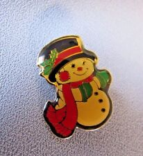 Holiday Spirit Snow Man Clear Coated White Red And Green Pin Back Lapel Pin