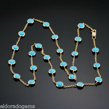 """GEMSTONE BY THE YARD NECKLACE CABOCHON TURQUOISE 14K YELLOW GOLD CABLE CHAIN 17"""""""