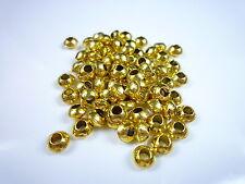 (100g=7,50€) Metallperlen 6mm gold ca. 100 Perlen Spacer Rondelle