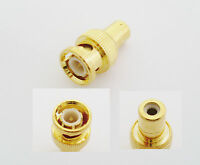 Gold BNC Male to RCA Female Straight Video Adapter Coaxial Camera CCTV Connector