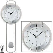 AMS radio-piloté pendule horloge murale montre Argent Verre minéral NEUF
