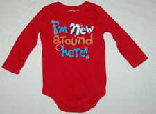 Toddler Boys Bodysuit I'M NEW AROUND HERE Long Sleeve RED 12 Mo SNAP CROTCH