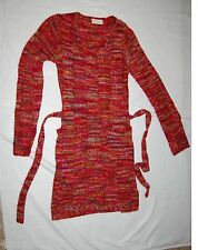 Womens Sweater Dress  RED w/ MULTI-COLORS V Neck XS 0-2 BELT Great w/ Leggings