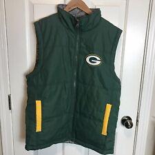 NFL Geeenbay Packers jacket Vest Reversible Men's Medium Green Gray Zip Z3