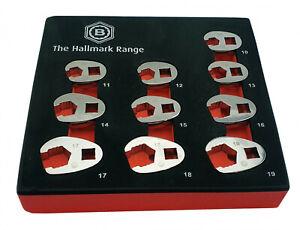 Britool Hallmark 10 Piece Flare CrowFoot Wrench Spanner Set In Foam 10mm-19mm