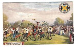 1910 St Albans PAGEANT Picture postcard OILETTE RAPHAEL TUCK QUEEN ELIZABETH