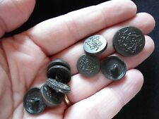 SET OF 8 + 1 METAL SELF SHANK BUTTONS WITH CROWN EMBLEM 14MM + 18MM