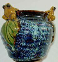 """Vintage Frog Planter Glazed Pottery 4"""" x 3"""""""