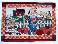 Fall Farm Placemat with Barn Pumpkins Scarecrow Tapestry Thanksgiving Halloween