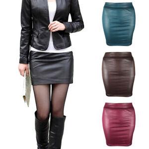 Womens Faux Leather Pencil Skirt High Waist Wet Look Bodycon Fashion Mini Dress