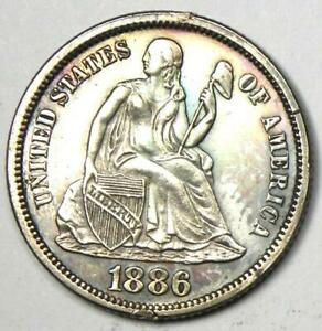 1886 PROOF Seated Liberty Dime 10C Coin - Proof Detail (PF/ PR) - Rare Coin!