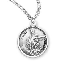 "St Saint Michael 7/8"" (22mm) Sterling Silver Round Medal + 20"" Chain"