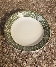 """Vintage Bristol Spanish Scroll Green White Gold Coupe Soup Bowl 7.5"""""""