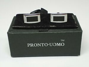 Pronto Uomo Black & Silver Tone Cufflinks