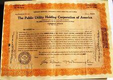 Public Utility Holding Corporation of America stock certificate + uncut warrant