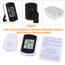 Digital Lcd Indoor/ Outdoor Wireless Weather Station w/ Sensor Thermometers Home