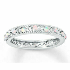 Fashion Women 925 Silver White Fire Opal Ring Wedding Proposal Jewelry Size 6-10