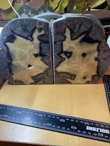 Septarian Polished Pair Of Bookends Nodule Dragon Stone 8.920 Kilos  U.K. Seller