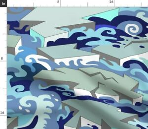 Ice Blue Waves Ocean Aquatic North Pole Spoonflower Fabric by the Yard