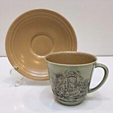 Branksome Bone China Teacup & Saucer England Warwick Castle Scene Green/Beige