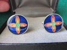 Flower enamel round modern cufflinks