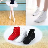 Women Girls Canvas High Top Jazz Ballet Dance Boots Ladies Kids Perform Shoes