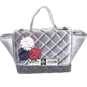 Pochette donna borsa piccola a bauletto di ciniglia grigio con applicato floreal