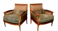 Vintage Baker French Louis Bergere Chairs - Original Silk - A Pair