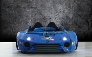 Kids new Single Blue Race Car bed leather seat and Music LEDlights 500W Speaker