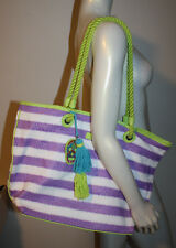 VERA BRADLEY Lilac White Lime Green Stripe Large Tote NWT Green Trim