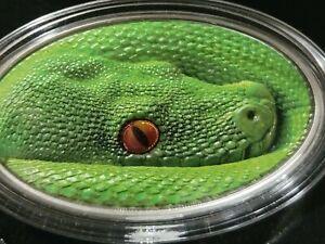 2016 Niue Green Tree Python 1 oz .999 Silver Animal Skin Series Antiqued Snake