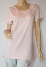 linea TESINI elegantes T-Shirt  mit Organza Applikationen rosa Gr. 40 - Neu