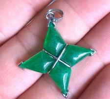 Natural Green Jade amulet   Pendant   Silver plating  28x28mm