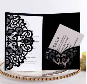 10PCS Laser Cut Wedding Party Invitation Card Birthday Engagement Greeting RSVP