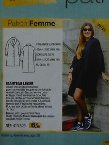 Patron couture MANTEAU femme Modes & Travaux Novembre 2017