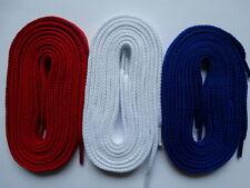 3 paia lacci spessi Piatta 105cm Rosso Bianco Blu-Per Tela Trainer Boot Scarpe,