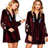 Womens Long Sleeve Bohemian Vintage Embroidered Velvet Spring Shift Mini Dress