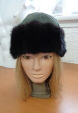 EXCELLENT BLACK MUSKRAT FUR & GREEN CLOTH HAT CAP WOMEN WOMAN SIZE ALL