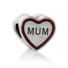"""Plata Tibet' Mamá Corazón """"grano de encanto Fit europeo Pulseras (Doble)"""
